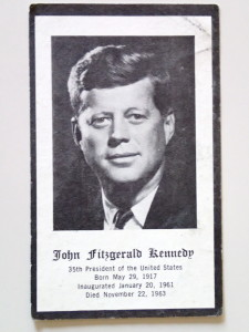 The front of  mass card for President Kennedy kept by my grandmother.